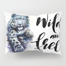 Snow leopard wild and free Pillow Sham