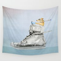 shoe Wall Tapestries featuring Dog Driving a Shoe by Floating Lemons