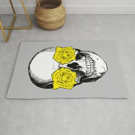 Skull and Roses | Skull and Flowers | Vintage Skull | Grey and Yellow | Rug