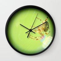 spider Wall Clocks featuring Spider by Ink Bird Art