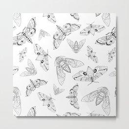 Geometric Moths Metal Print