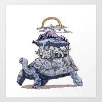 discworld Art Prints featuring The discworld by Aya Rosen