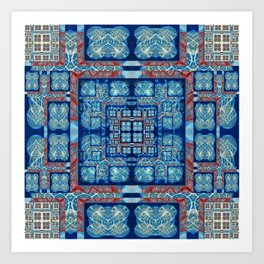 Elegant Abstract Geometric Quilt Print Blue and red Art Print