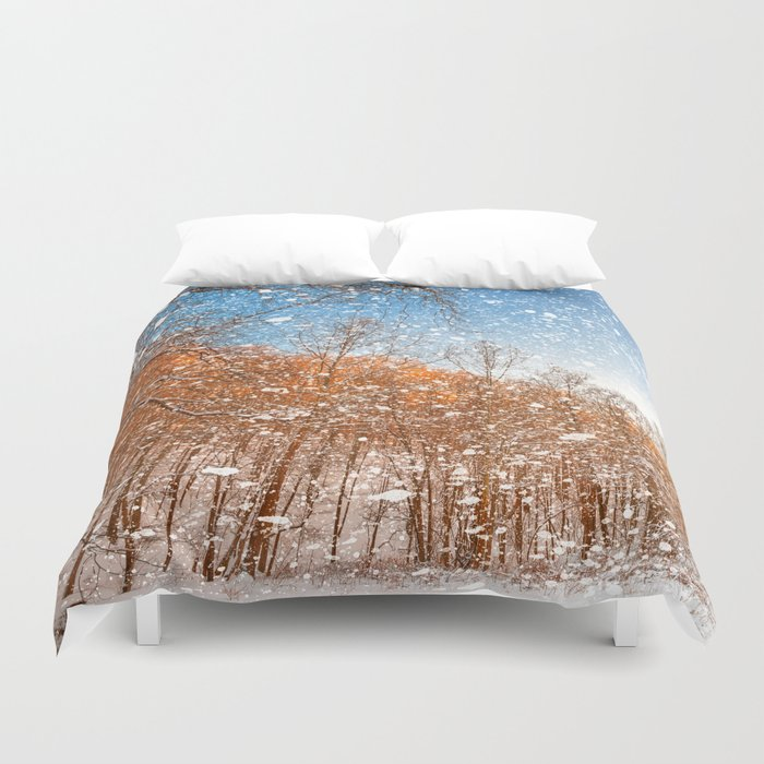 Snow Spattered Winter Forest Duvet Cover