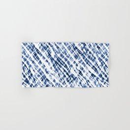 Tie Dye Criss-Cross Design in Indigo Blue and White Hand & Bath Towel