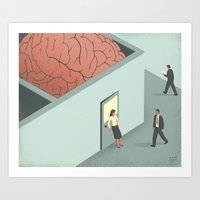 psychology Art Prints featuring Brain Room by Davide Bonazzi