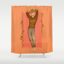 Green Haired Soft Boy with Peachy colored theme Shower Curtain