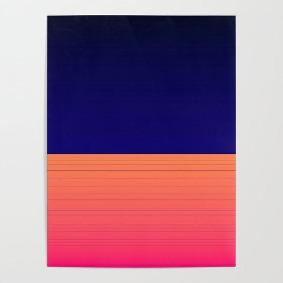 Vibrant Navy Blue Orange Pink Stripe by artaddiction45