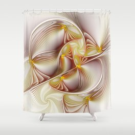 Decor with Gold, Abstract Fractal Art Shower Curtain