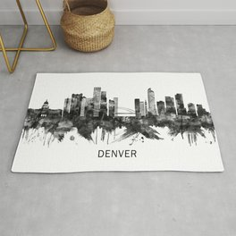 Denver Colorado Skyline BW Rug