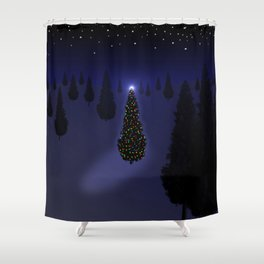 Christmas Tree Blue Shower Curtain