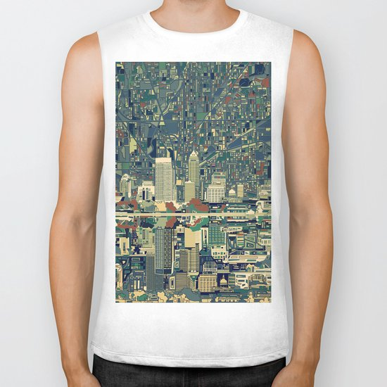 indianapolis city skyline green Biker Tank