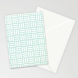 Basketweave (Mint & White Pattern) Stationery Cards