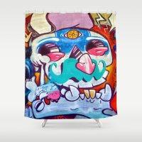 grafitti Shower Curtains featuring Grafitti Clown by Valann