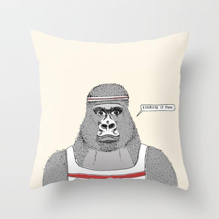 Gorillas love exercise Throw Pillow