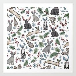 JackALopes & Snowshoes Art Print