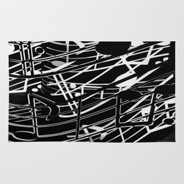 music note sign abstract background in black and white Rug