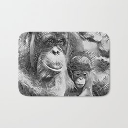 AnimalArtBW_OrangUtan_20170910_by_JAMColorsSpecial Bath Mat