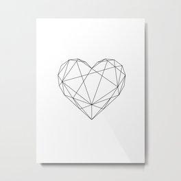 Geometric Heart Black Metal Print