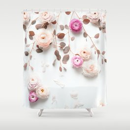 SPRING FLOWERS IN BLUSH 1 Shower Curtain