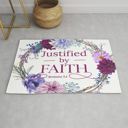 Justified By Faith Romans 5 1 Quote Rug