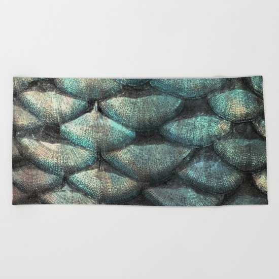 Aqua rose mermaid scales Beach Towel
