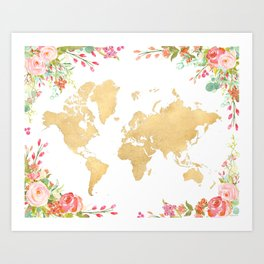 Bohemian world map with watercolor flowers Art Print