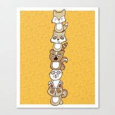 Woodland Creature Totem Pole Canvas Print
