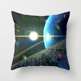 until the moon is no more. Asteroid Field on Earth Throw Pillow