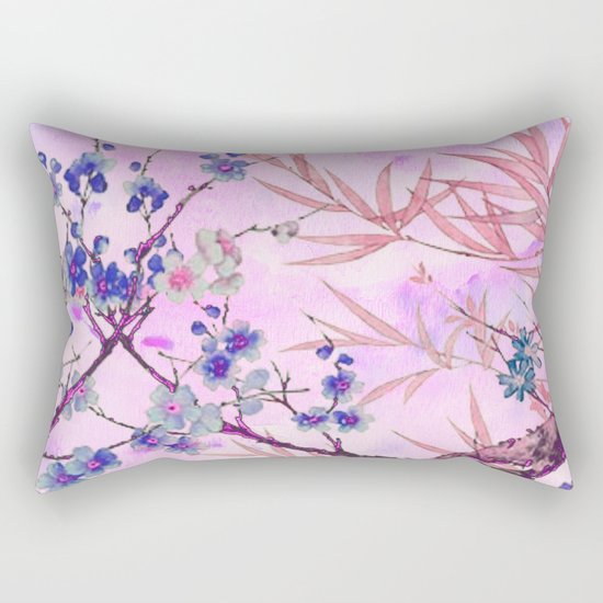 little blue flowers and pink leaves Rectangular Pillow