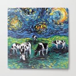 Starry Starry Pasture Cow Art Metal Print