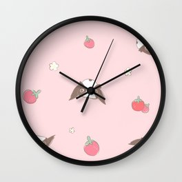 "Japanese chin Mochio ""STRAWBERRY AND MOCHIO"" Wall Clock"