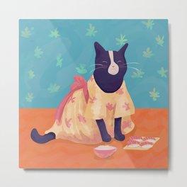 Black and White Kitty Wearing an Orange Kimono Eating Sushi and Rice - Blue Background Metal Print