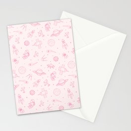 Pink Space Pattern Stationery Cards