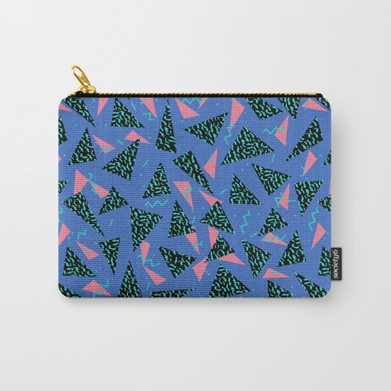 Tina - 80s Triangle print, bright tri blue memphis design, memphis triangle Carry-All Pouch