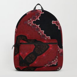Red and Black Diamond Love Pattern Backpack