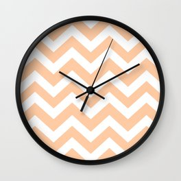 Deep peach - pink color - Zigzag Chevron Pattern Wall Clock