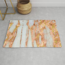 White Alabaster Marble With Flowing Gold-Glitter Veins Rug