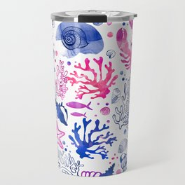 Hand painted blush pink blue watercolor nautical sea pattern Travel Mug