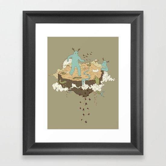 Frog Rain Framed Art Print