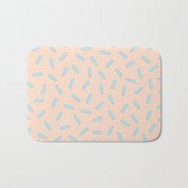 Memphis Bacteria Pattern Pastel Colors Peach Baby Blue Bath Mat