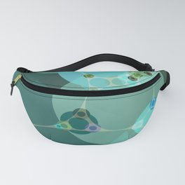 vanessa - abstract design of warm green and pale blue turquoise Fanny Pack