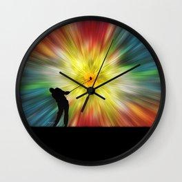 Tie Dye Silhouette Golfer Wall Clock