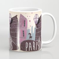 travel poster Mugs featuring Vintage Paris Travel Poster cartoon by Nick's Emporium Gallery