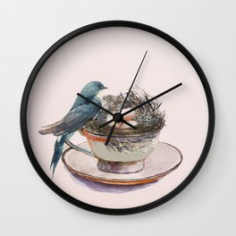 Bird nest in a teacup Wall Clock