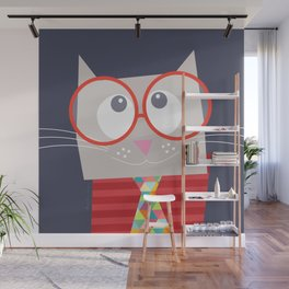 Funny cat wit red glasses Wall Mural