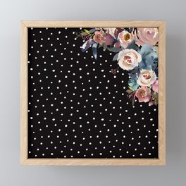 Boho Flowers and Polka Dots on Black Framed Mini Art Print