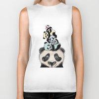 pandas Biker Tanks featuring pandas by Svenningsenmoller Design