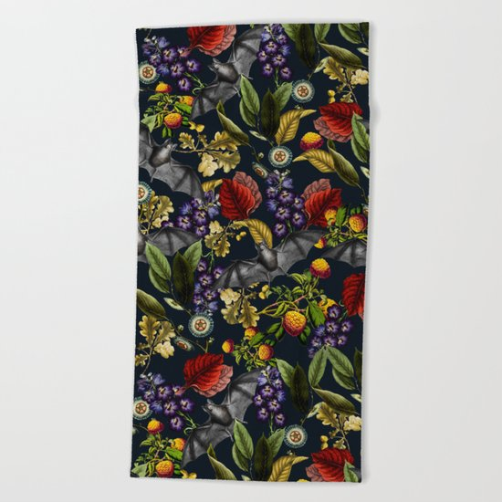 Flying Fox and Floral Pattern Beach Towel