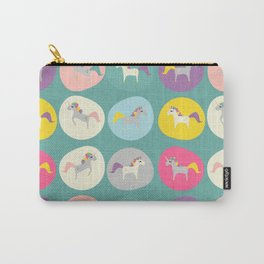 Cute Unicorn polka dots teal pastel colors and linen texture #homedecor #apparel #stationary #kids Carry-All Pouch